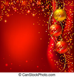 Christmas background - Red background with Christmas balls