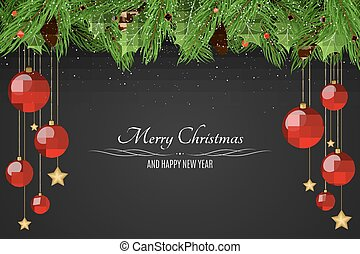 Christmas background. Red balls and golden stars. Snowy berries with a fir tree on a dark background. Happy New Year. Falling snow. Vector