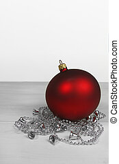 christmas background- red bauble with silver chain