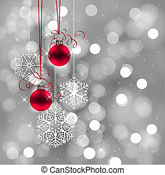 Christmas background - Red Christmas baubles with bows and...
