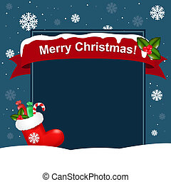Christmas Background - Red Christmas Sock With Presents,...