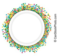 Christmas background round frame from colourful confetti