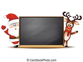 Christmas background Rudolph reindeer and Santa Claus.