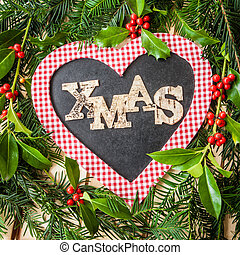 Christmas background - Rustic christmas background with...