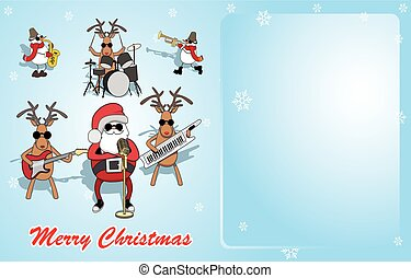Christmas background. Santa, reindeer and snowmen perform. vector