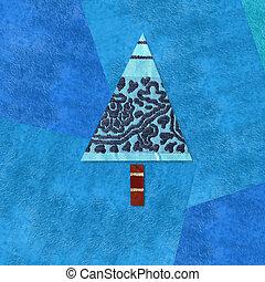 Christmas background, scrap fabric fir on blue paper