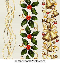 Christmas background - set of three Christmas seamless...