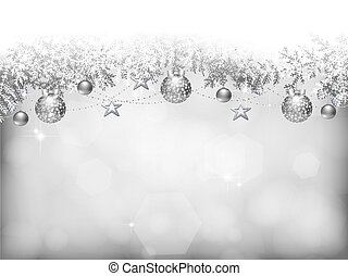 Christmas background - Silver background with Christmas...