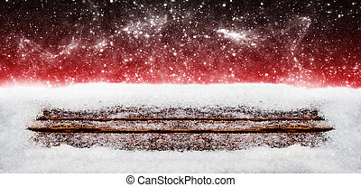 Christmas background, Snow on wood