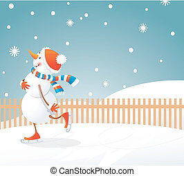 Christmas background - snowman on skates