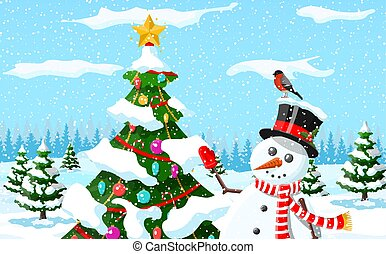 Christmas background. Snowman with fir tree.
