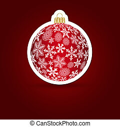 Christmas background. Sticker ball. Vector illustration.