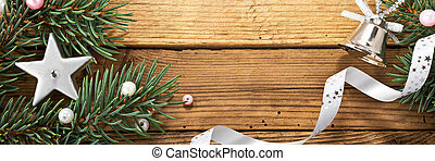 Christmas Background - still life with christmas tree and...