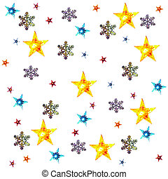 christmas background with snow flakes stars lights isolated...