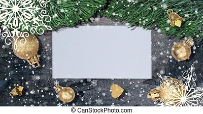 Christmas background. Top view with letter and copy space. -...