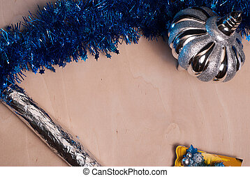 Christmas background, toy, foil wrap,