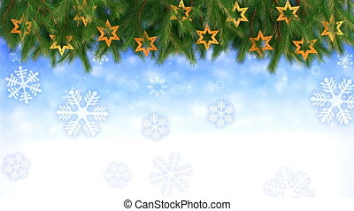 Christmas background - Twigs and stars with falling...