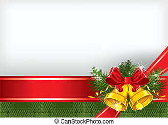Christmas background with gold bells and a checkered cloth...