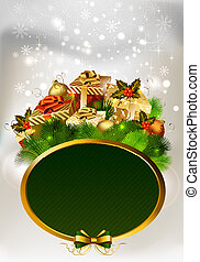 Christmas background with frame and gifts