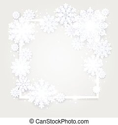 Christmas background, white snowflakes on grey. Square frame with decoration. Winter template design for posters, flyers, brochures or vouchers. Vector illustration