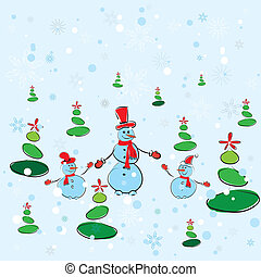 Christmas background. Winter card with snowmans. Vector illustration