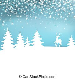 Christmas background. Winter landscape with deer. White fairy forest.