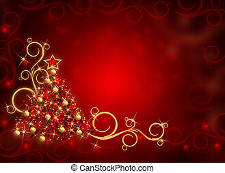 Winter red background with Christmas tree and snowflakes