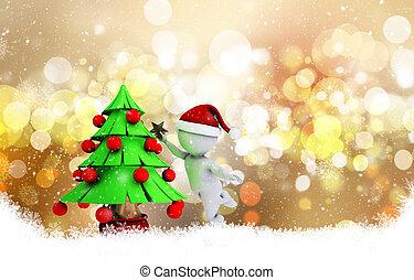 Christmas background with 3d morph man - 3D morph man...