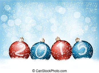 Christmas background with a 2015 made out of baubles. Vector