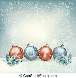 Christmas background with a 2015 made out of baubles....
