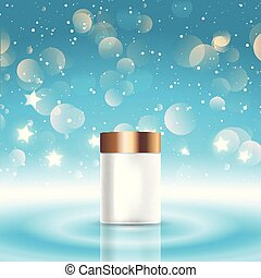 Christmas background with a blank cosmetic bottle on a bokeh lights design