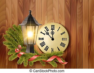 Christmas background with a lantern and a clock. Vector.