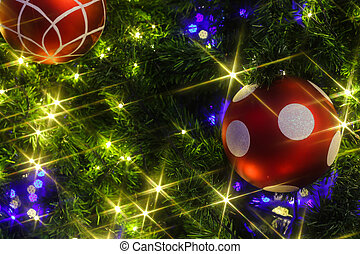 Christmas background with a red ornament