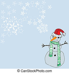Christmas background with a snowman and space for text. Vector illustration.
