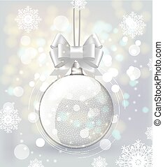 Christmas background with a transparent sphere with a bow and twinkling lights
