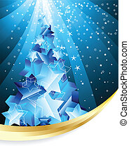 Christmas background with abstract evening tree