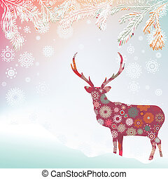 Christmas background with abstract reindeer. EPS 8
