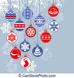 Christmas background with balls and contour snowflakes