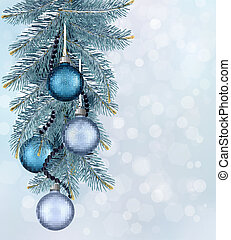 Christmas background with balls and fir branches. Vector illustration