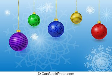 christmas background with balls and snowflackes
