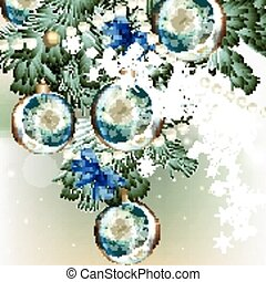 Christmas background with baubles a