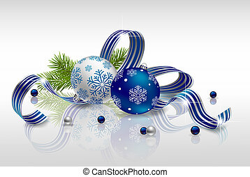 Christmas background with baubles, fir branches and ribbon