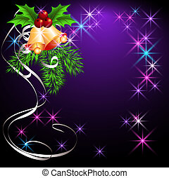 Christmas background with bells and stars