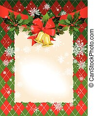 Christmas background with bells and holly with space for...