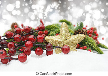 Christmas background with berries nestled in snow