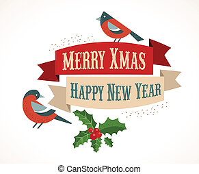 Christmas background with birds and holly leafs