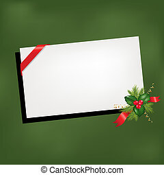 Christmas Background With Blank And Holly Berry, Isolated On Green Background, Vector Illustration