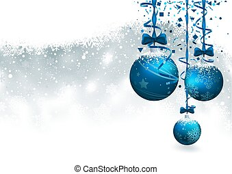 Christmas Background with Blue Baubles