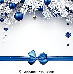 Christmas background with blue bow.