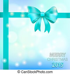 Christmas background with blue bow. Vector illustration with snowflakes